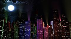 Stock Illustration of Modern City Lit by Colorful Light Effects at Night