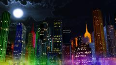 Modern City Lit by Colorful Light Effects at Night - stock illustration