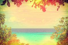 Stock Photo of Beautiful sea have leaves is a frame in retro style, Thailand