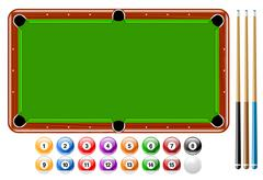 Billiards, Pool Balls, Pool Game Set Stock Illustration