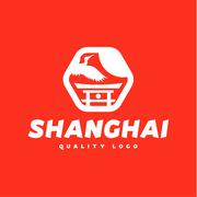 Asian sign Shanghai crane flies sky culture tradition asia sun symbol logo icon - stock illustration