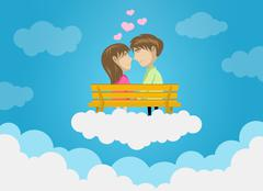 Cute Couple Dating On Clouds, Love, Romance, Kissing Stock Illustration