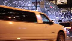 White Limousine car, Vancouver, night, city lights, christmas illumination - stock footage