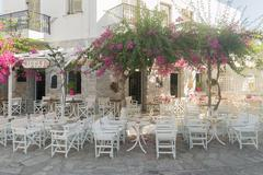 Antiparos coffee shops are ready to welcome tourists. Stock Photos