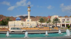 Fountain and mosque in Muscat Stock Footage