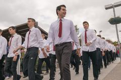Boys parade in national celebration of Ochi day in Athens. Stock Photos