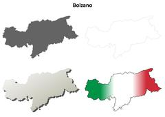 Bolzano blank detailed outline map set - Italian version - stock illustration