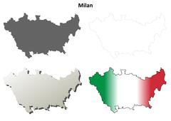 Milan blank detailed outline map set Stock Illustration