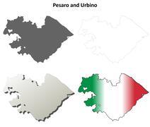 Pesaro and Urbino blank detailed outline map set - stock illustration