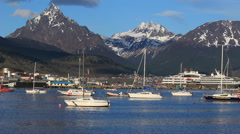 Sailboats in Ushuaia Harbor Stock Footage