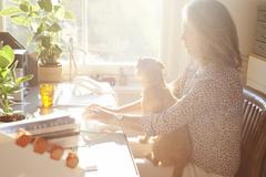 Woman with dog on lap typing on keyboard in sunny home office - stock photo