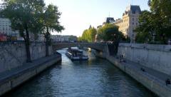 Paris, pont St Michel before sunset Stock Footage