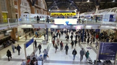 View of the interior of Liverpool station in London Stock Footage