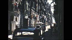 Vintage 16mm film, 1960, Spain, Barcelano town narrow streets Stock Footage