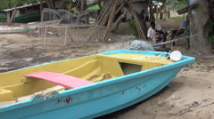 Jamaica coastal village fishing boat trap making 4K Stock Footage