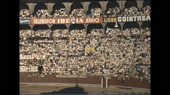 Vintage 16mm film, 1960, Barcelona bull fight and crowded stadium Stock Footage
