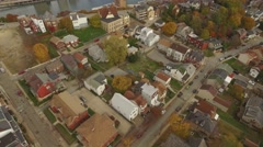 Aerial Flyover Ridge of Mount Washington to Reveal Pittsburgh in Autumn Stock Footage