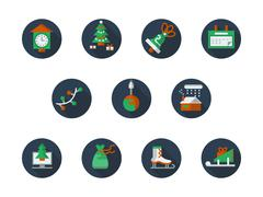 Round flat color winter holidays vector icons set - stock illustration