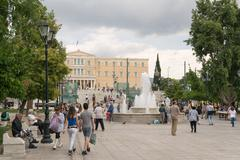 Every day life in Sintagma Athens with tourists and local people. Stock Photos
