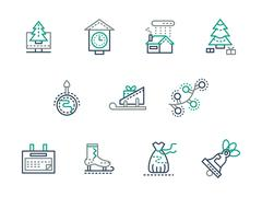 Christmas and winter simple line vector icons set - stock illustration