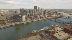 Aerial Shot of Downtown Pittsburgh, PA Moving Back toward Station Square Stock Footage