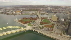 Aerial Shot Pulling Back from Liberty Bridge to Reveal Downtown Pittsburgh in A Stock Footage