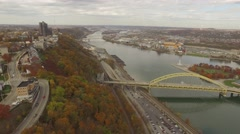 Aerial Shot of Bridge, Mount Washington, and Heinz Field in Pittsburgh Stock Footage