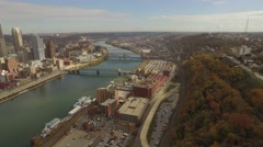Aerial Shot of Station Square Turning to Reveal Downtown Pittsburgh in Autumn Stock Footage
