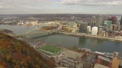 Aerial Shot of Downtown Pittsburgh, Highmark Stadium, and Heinz Field Stock Footage