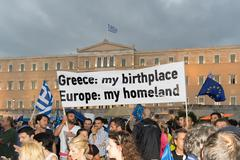 Greek people demonstrated against the government. Stock Photos