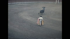Vintage 16mm film, 1960, Barcelona bull fight with crowd waving white kerchiefs Stock Footage