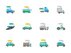 Auto business flat color vector icons set - stock illustration