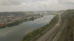 Aerial Shot Moving Along Highway Towards Suspension Bridge in Steubenville, OH Stock Footage