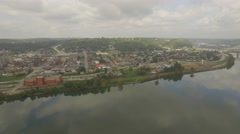 Aerial Shot of Upper End of Steubenville, OH looking back toward Suspension Brid Stock Footage