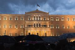 Greek people demonstrated against the government. - stock photo