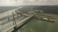 Aerial Shot Pulling Back from Suspension Bridge in Steubenville, OH Stock Footage