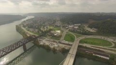 Aerial Shot Flying Directly Over and Back from the Suspension Bridge in Steubenv Stock Footage