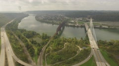 Aerial Shot of the Bridges of Steubenville, OH Stock Footage