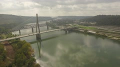 Aerial Shot Landing Next to the Suspension Bridge in Steubenville, OH Stock Footage