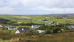 Stock Photo of Rural farmhouses among farmland