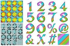 ABC Alphabet numbers lettering design set combo Stock Illustration