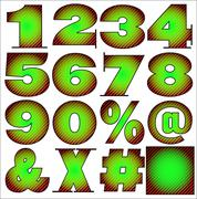 ABC Alphabet numbers lettering design set - stock illustration