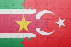 puzzle with the national flag of turkey and  suriname - stock photo