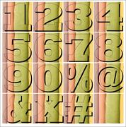 ABC Alphabet numbers lettering design set Stock Illustration