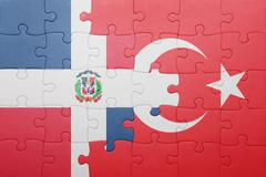 Stock Photo of puzzle with the national flag of turkey and dominican republic