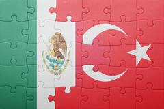 Stock Photo of puzzle with the national flag of turkey and mexico