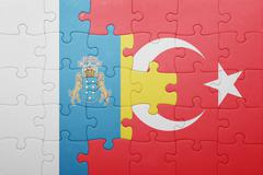 puzzle with the national flag of turkey and canary islands - stock photo