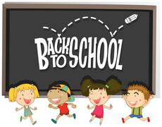 Back to school theme with children Piirros