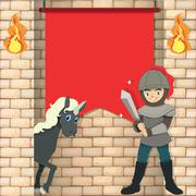 Knight and unicorn by the red flag Stock Illustration