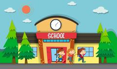 Children leaving school in evening Piirros